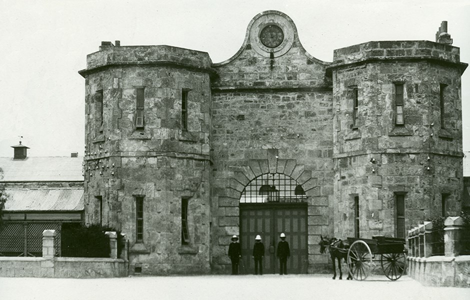 1900-1920  Officers at Gatehouse entrance wearing pith helmets.