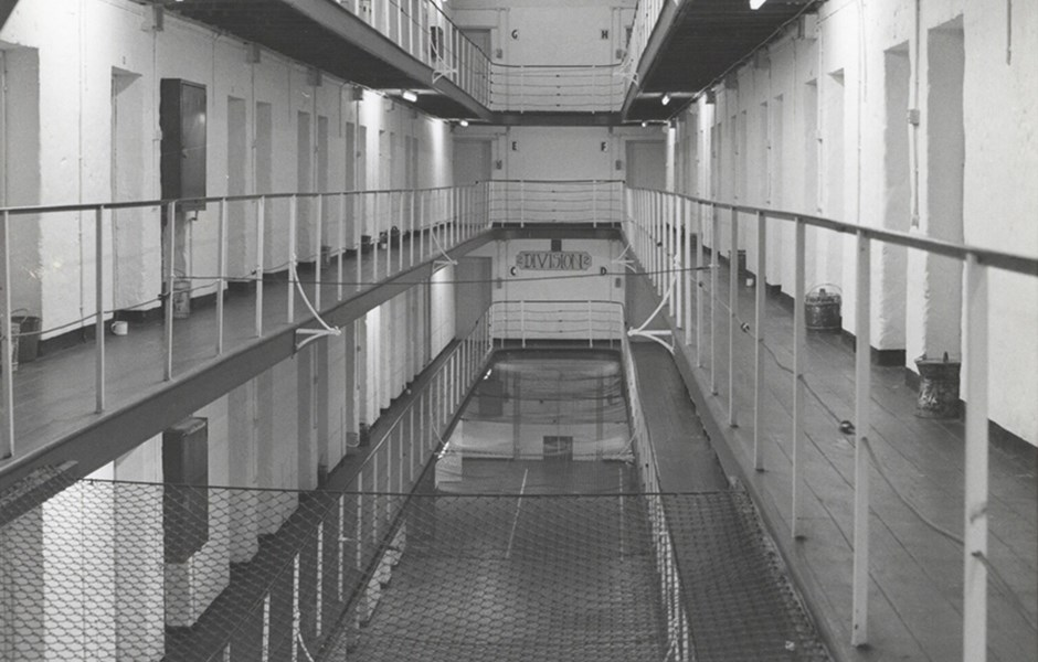 1972  Main Cell Block 2 Division view south.