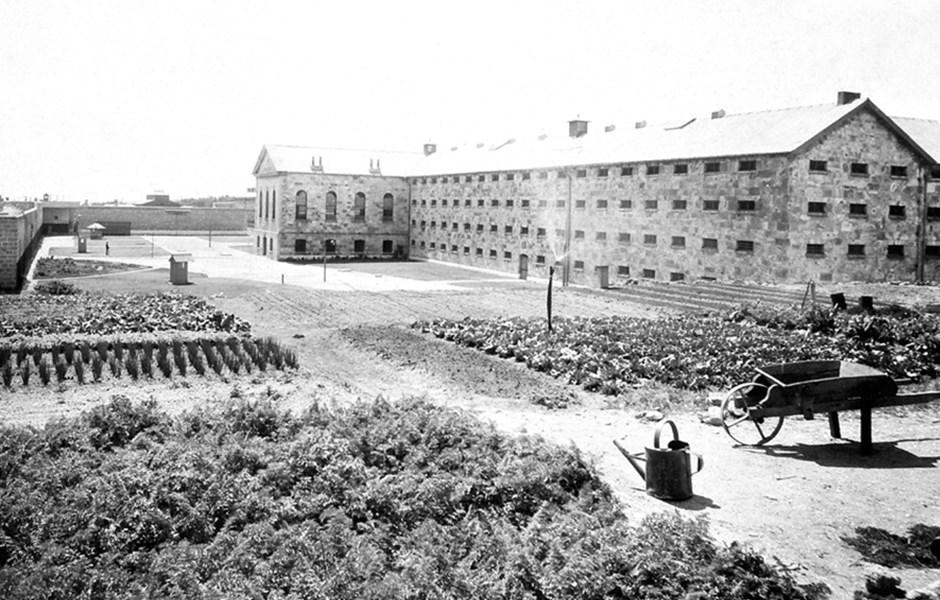 c1909  Vegetable gardens in south west corner of Prison.